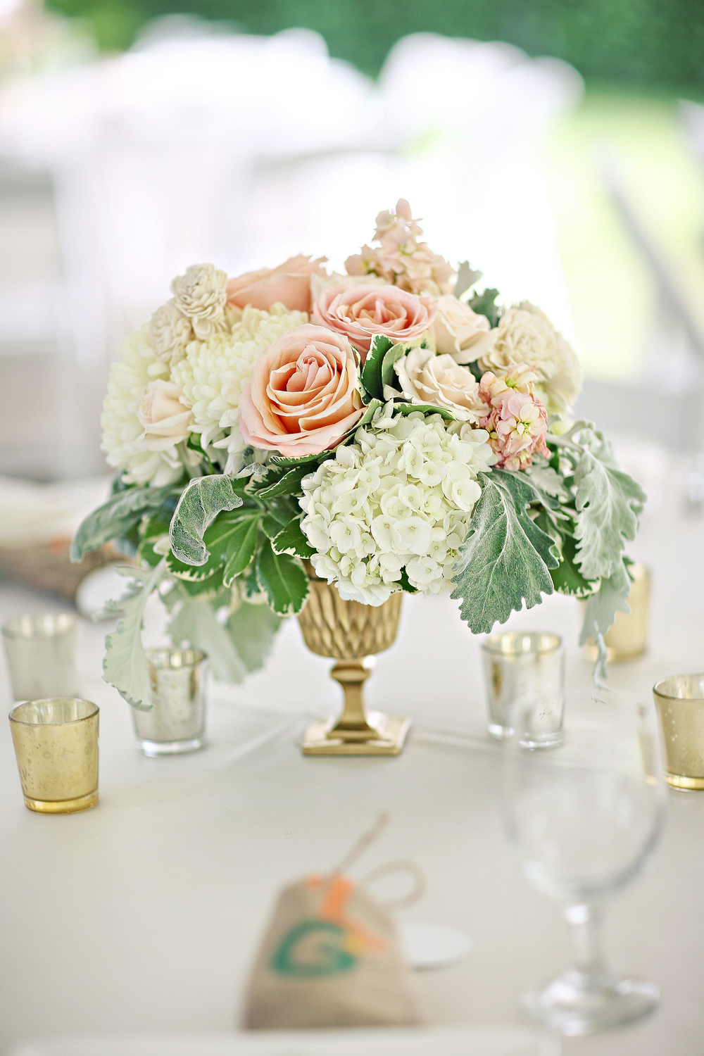 peach accent flower arrangement in gold vase by Passion Roots | Frank Amodo Photography | Oahu, Hawaii