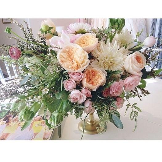 peach and pink boho centerpiece by Passion Roots