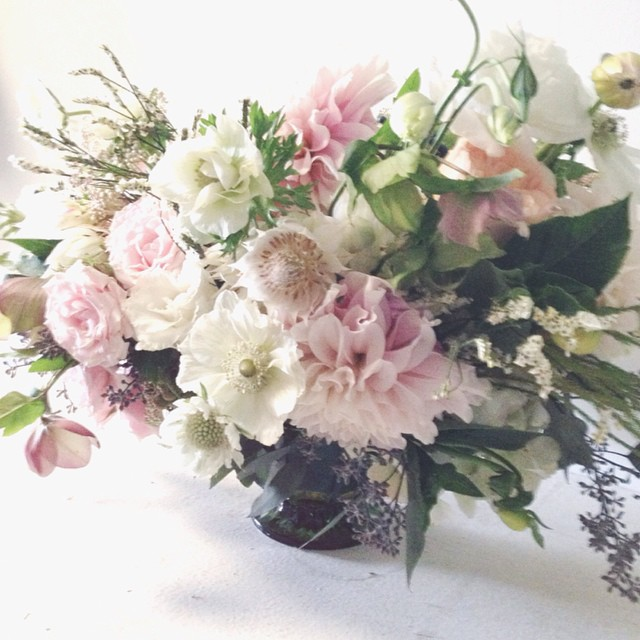 delicate pink centerpiece by Passion Roots