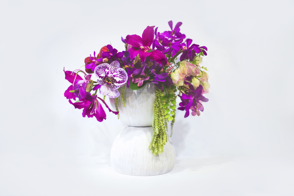 tropical berry colored arrangement by Passion Roots #greentrunk