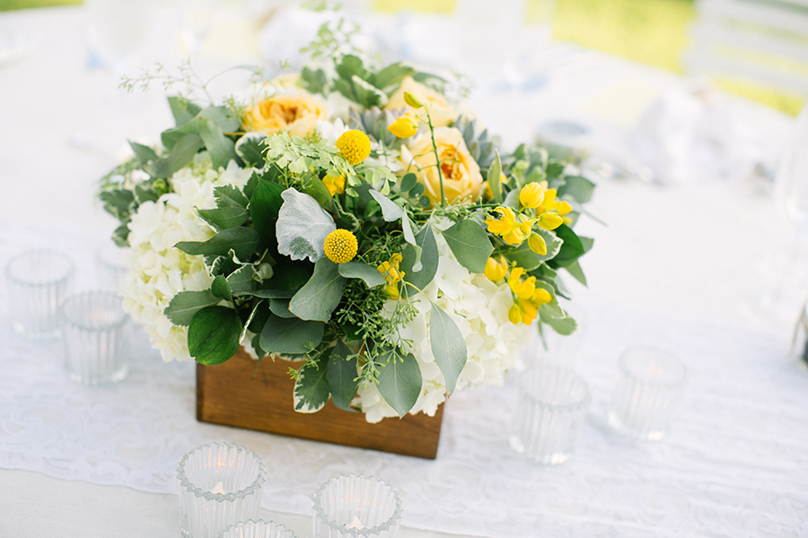 yellow and foliage centerpiece in wooden box by Passion Roots | What a Day! Photography