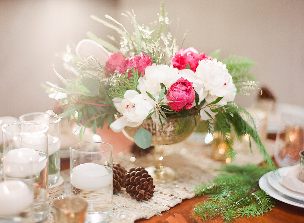 holiday pink and white arrangements by Passion Roots | Ashley Goodwin Photography