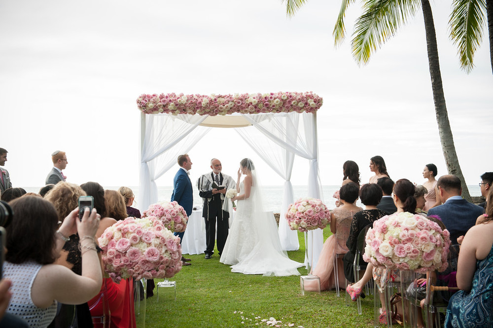 pink, blush and white ceremony arbor and aisle arrangements  by Passion Roots | Cappy Hotchkiss Photography | Oahu, Hawaii