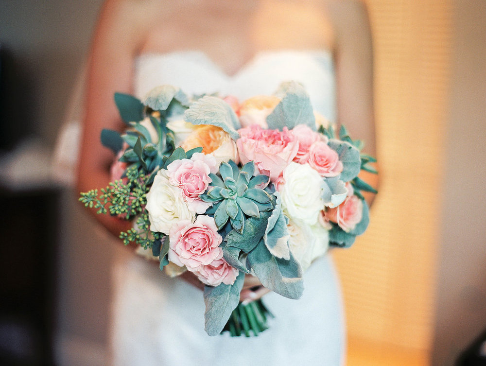 Peach and Succulent Bouquet by Passion Roots | Ashely Goodwin Photography | Oahu, Hawaii