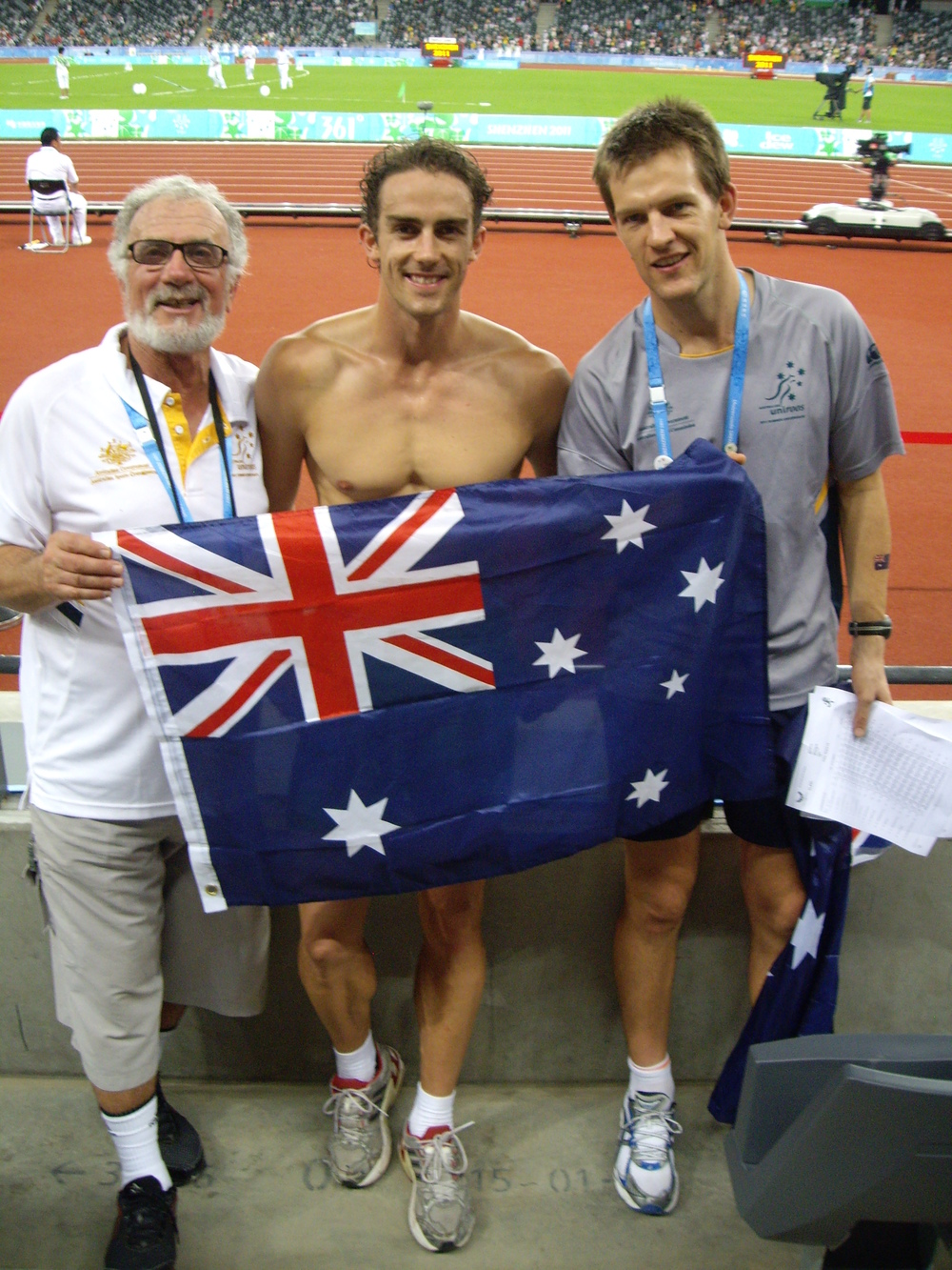 Aidan with 2 time Australian decathlon champ   ion  Steve Cain  at the 2011 World University Games in Shenzhen, China
