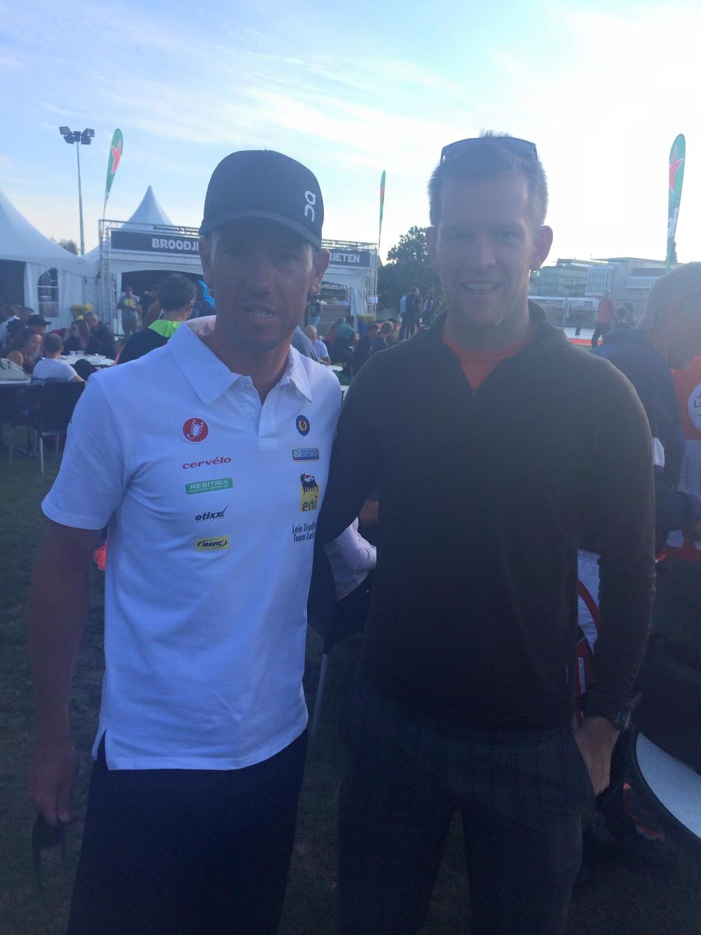 With 2013 Ironman World Champion Frederik van Lierde pre-race