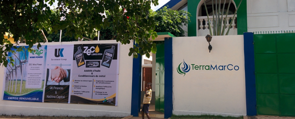 The TerraMarCo logo and flag (out of picture) flying at the Energy Centre, Lome, Togo, Africa