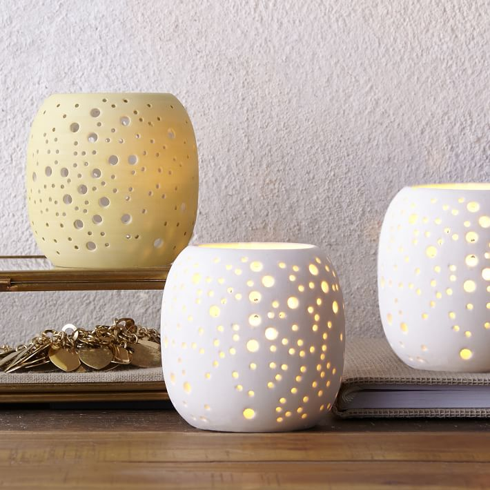 west elm Pierced Porcelain Tealights - Constellation - $9