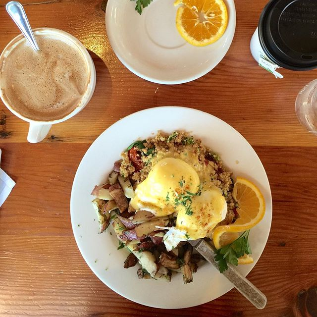 Curried Quinoa Eggs Benedict - breakfast perfection 😋 #glutenfree #breakfast #claires #solonabeach #beach #beachlife #coffee #goodmorning