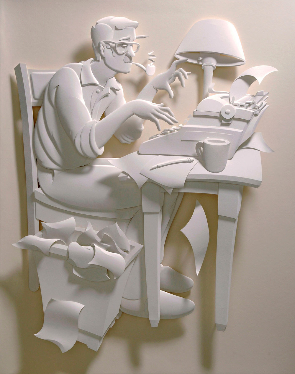 writer paper scupture
