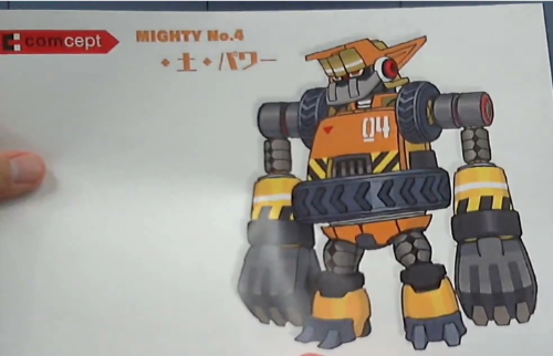 Mighty No. 4's final design! They also showed Mighty No. 7 but I was too slow to screencap.