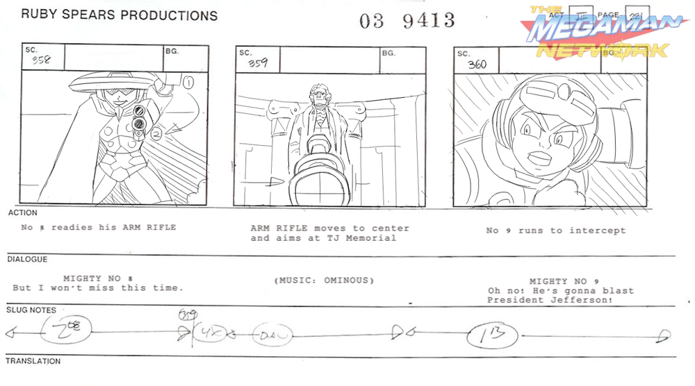 "Sneak-peek at a storyboard for a scene from one episode, ""Mighty Pinocchio."""