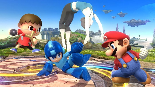 Mega Man and Wii Fit Trainer take Mario and Villager to school in the first-ever Super Smash Bros. break-dancing contest.