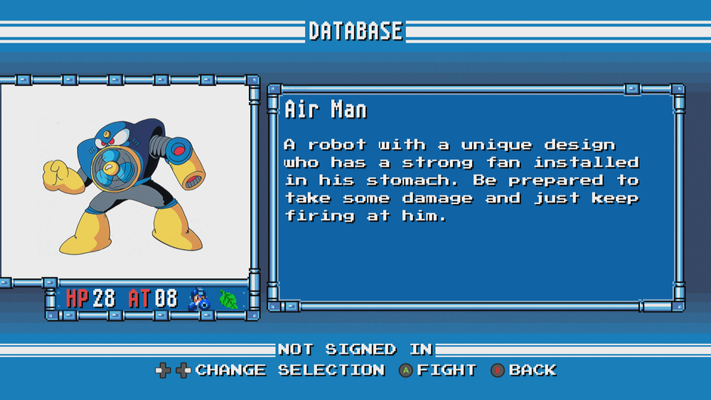 Air Man is the Blue Bomber's biggest fan; in fact, Mega Man wood go to great lengths for him to leaf him alone.