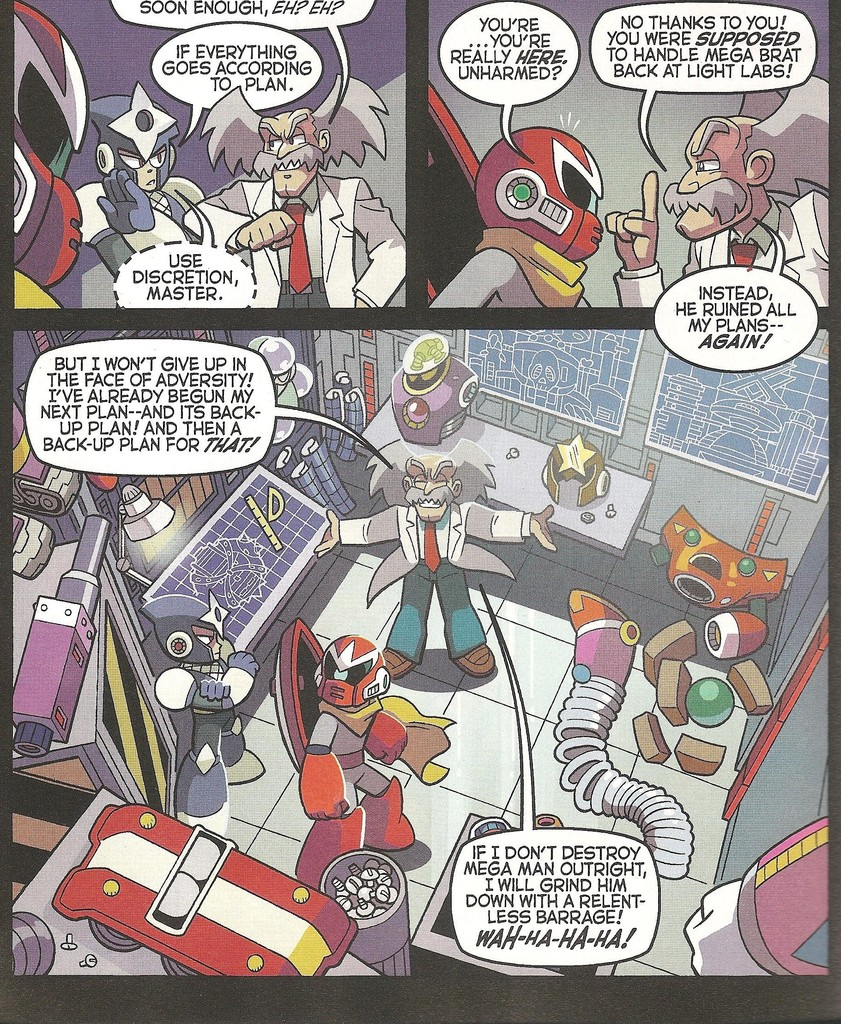"Wonder what Mr. X thinks of the big ""X"" shaped castle Wily's designing over there...  ""What's that?"" ""Oh, er, it's... uh... part of a plot to frame Mega Man X! Yes, that's exactly it..."" :Oh... okay. Carry on, then."""