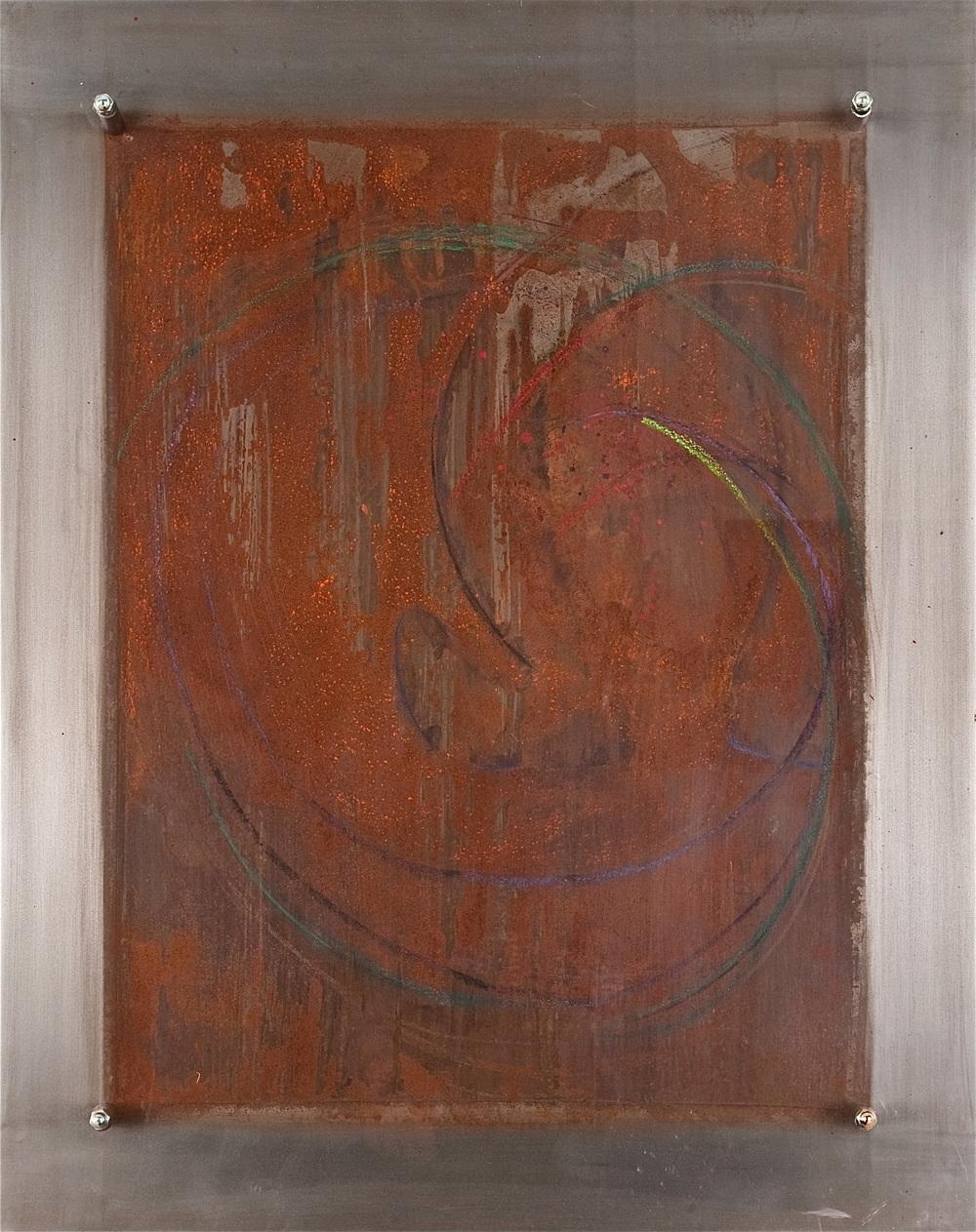 Metal 3 –Chemicals & pigment on metal   Sold