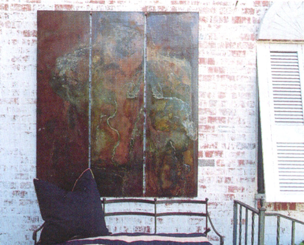 Horses Triptych - pigment and chemicals on sheet metal   Sold