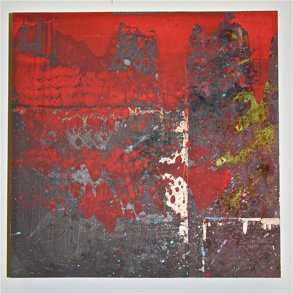 """Red Reaction 3 –Chemicals & pigment on metal (12"""" x 12"""")   Sold"""