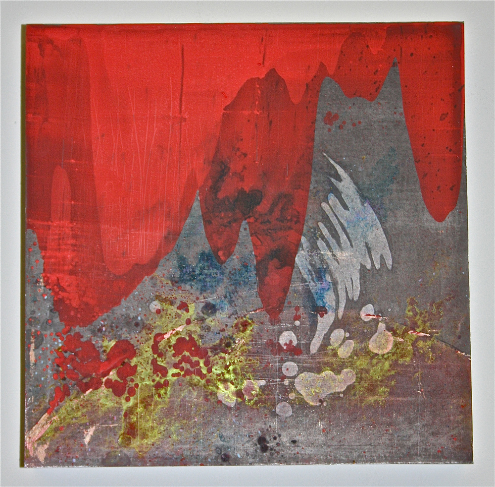"""Red Reaction 2 –Chemicals & pigment on metal (12"""" x 12"""")   Sold"""