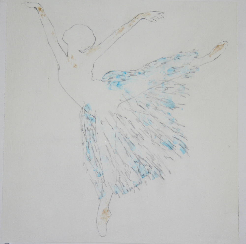 """Ballet 2 - Pigment in cold wax (12""""x12"""")"""