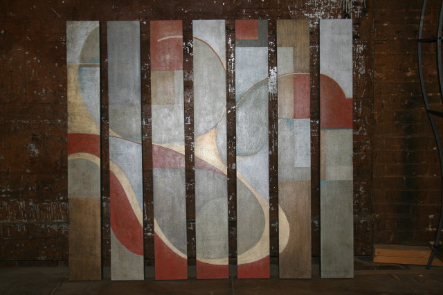 """Commissioned abstract - mixed medium on board (7 pieces each 7""""x48"""")  SOLD"""
