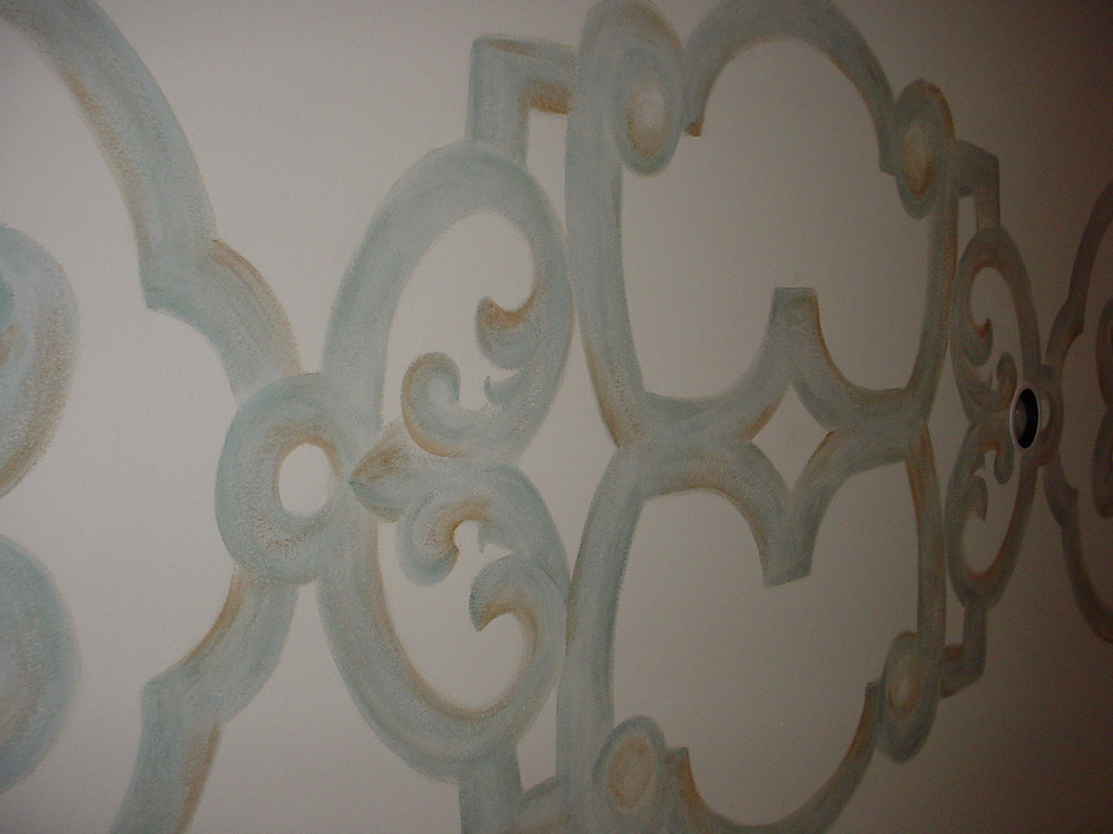 Large pattern painted on entry ceiling