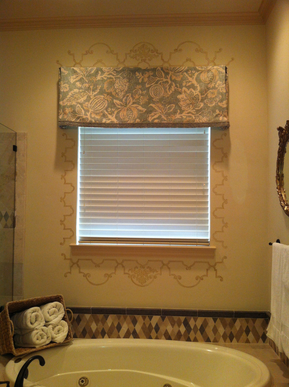 Custom designed pattern for bathroom window