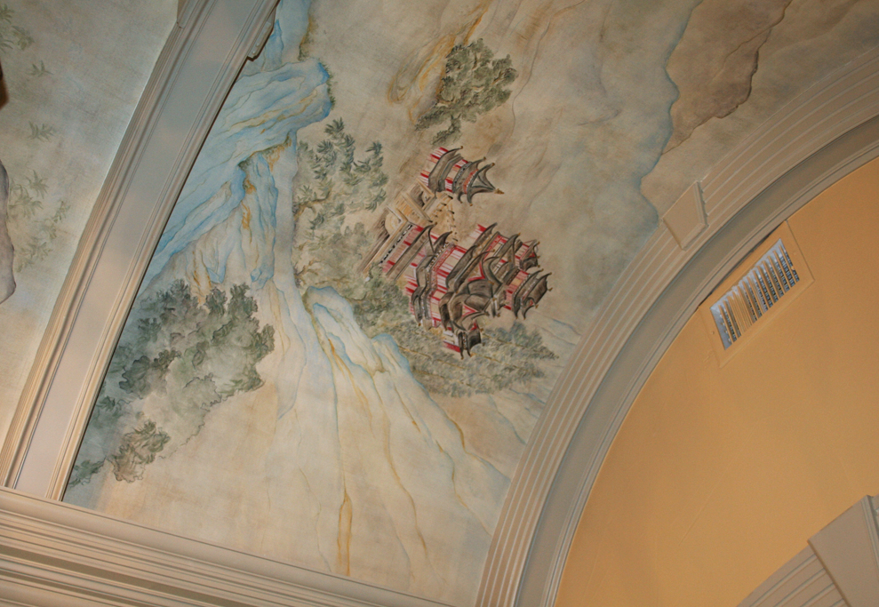 Custom designed and hand painted scene for entry ceiling