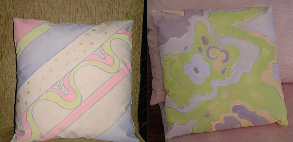 Designed and hand painted pattern for pillows