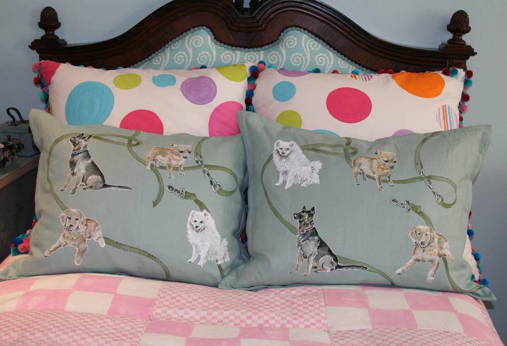 Designed and hand painted dogs on leash for bedroom pillow