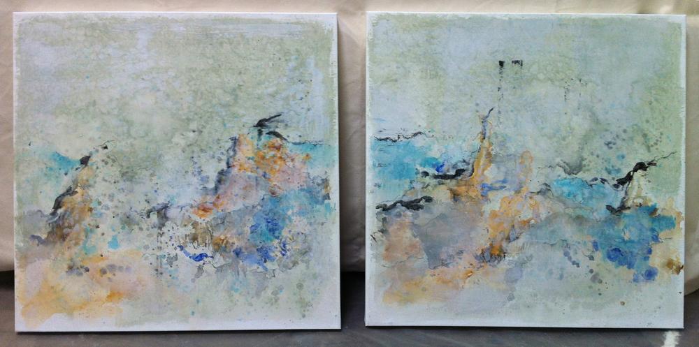 "Mystical Mountain - mixed medium on canvas (pair each 24""x24"")   Sold"
