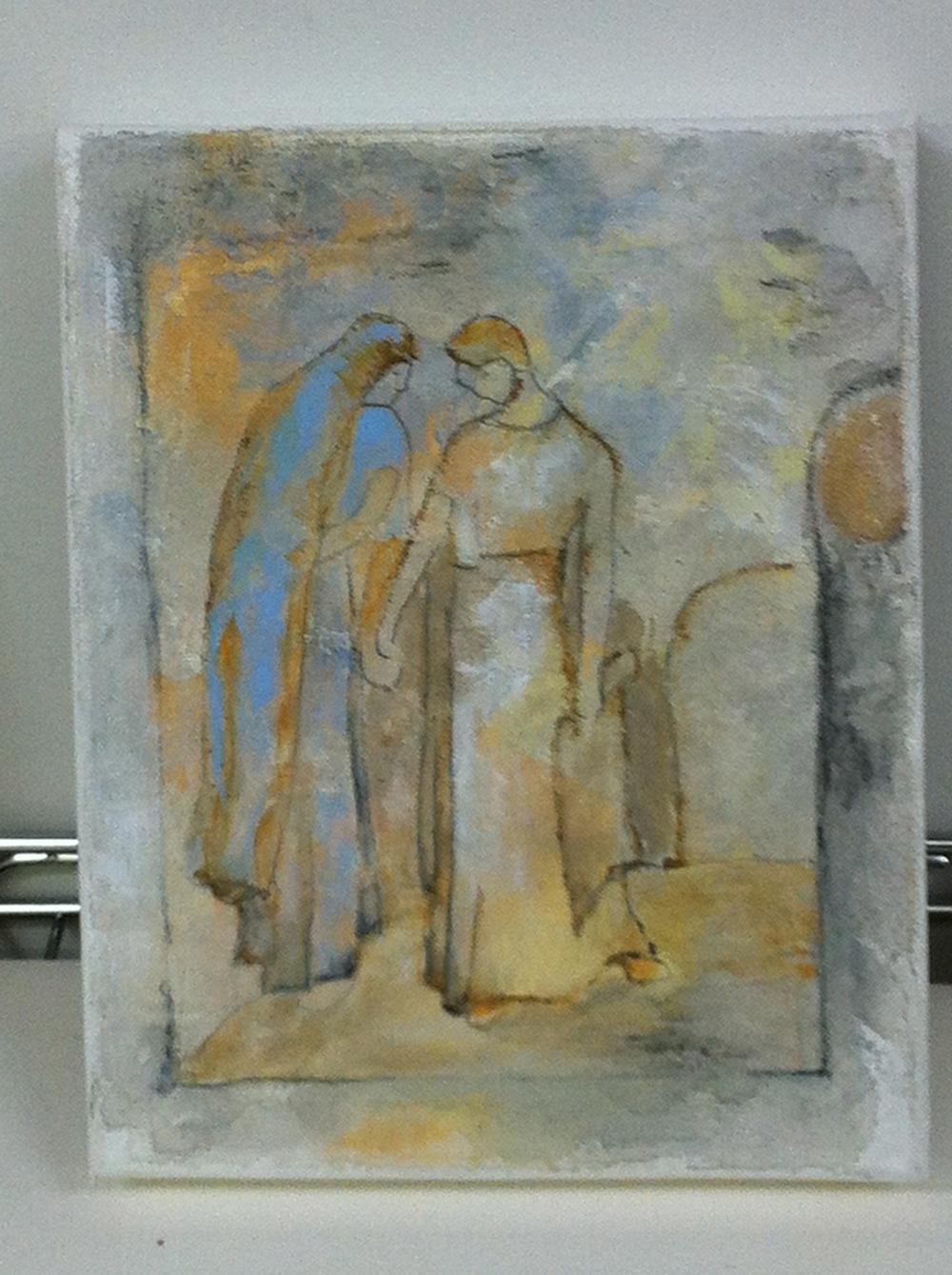 "Past Conversation 1  - mixed medium on canvas (8""x10"")  SOLD"