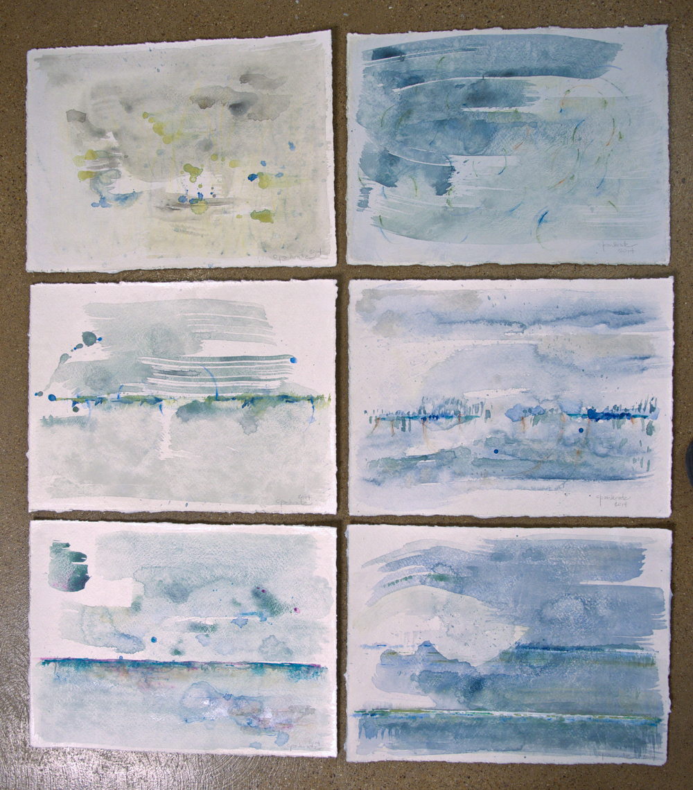 """View 1 through 6 - watercolor on paper (ea.14""""x10"""")"""