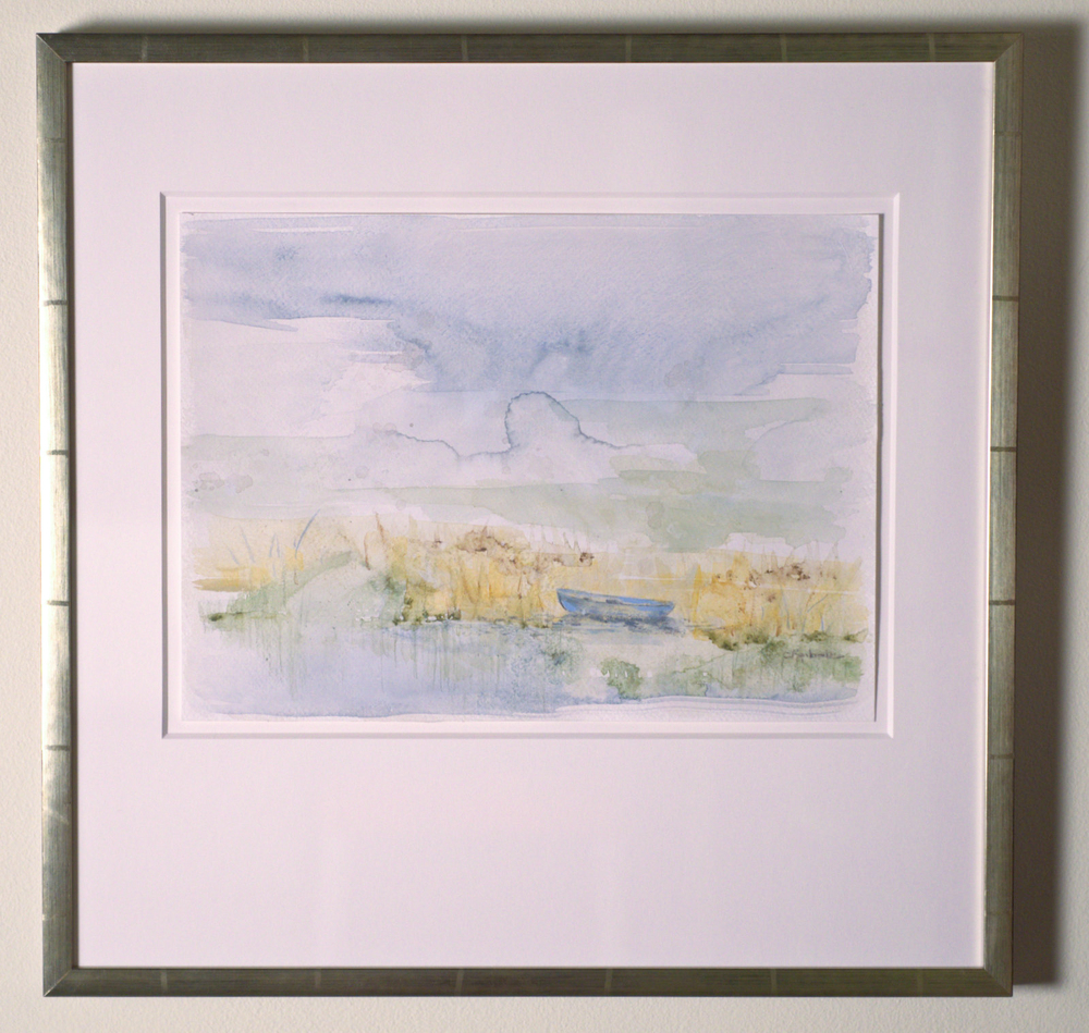 """Solitude Blue - watercolor on paper (11""""x15"""") framed"""