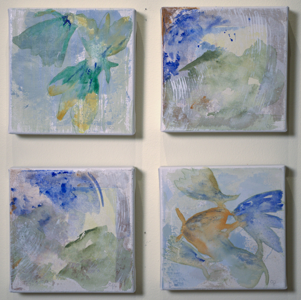 "Nature's Glimpse - mixed medium on canvas (ea.8""x8"")"