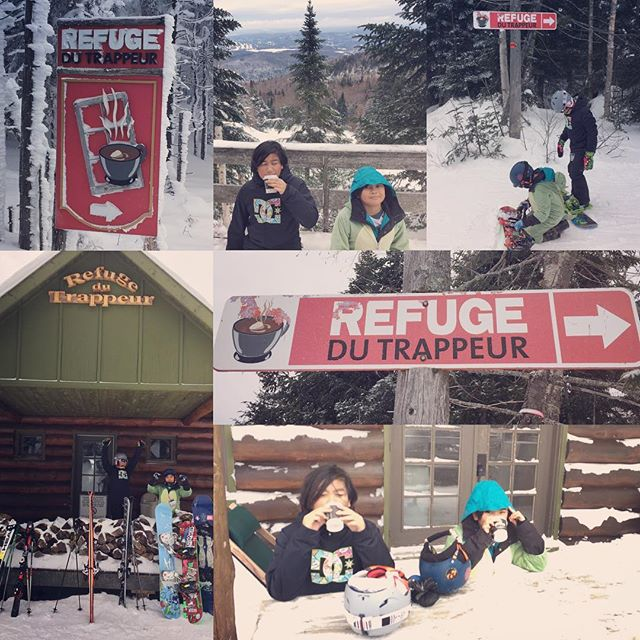 How do you catch a #dinoboarder: #midmountain stop for #hotchocolate #refugedetrappeur #snowboarding #snowboard #snowboardlife #snowboarder #weekendtrip #weekendgetaway #fxbevents #toronto #ontario #gta #grom #gromlife