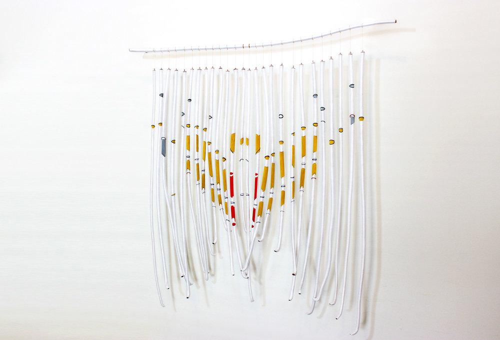 DELPHI, 2017, yarn, thread and found branches, 70cm x 70cm