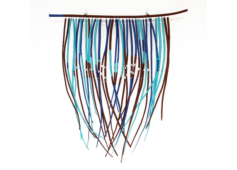 SIBYL (BLUE ORACLE),   2018, thread, yarn and found branches, 90 x 75cm
