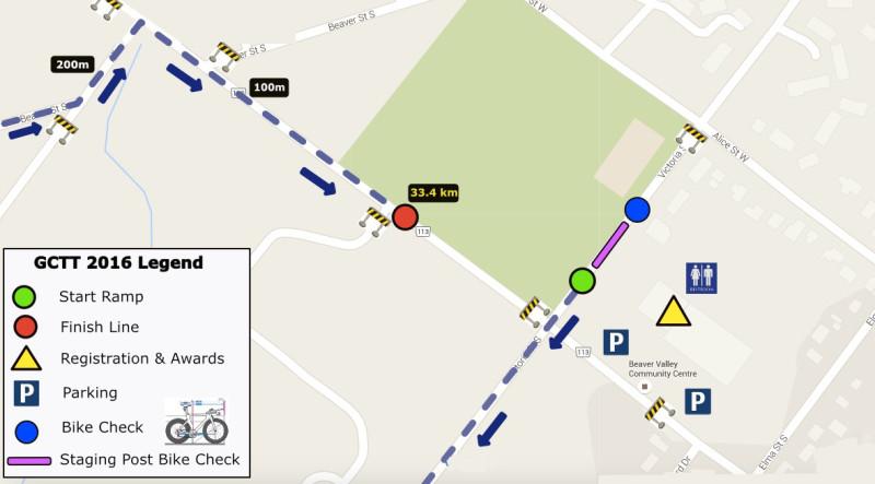 Friday evening TT Start/Finish map