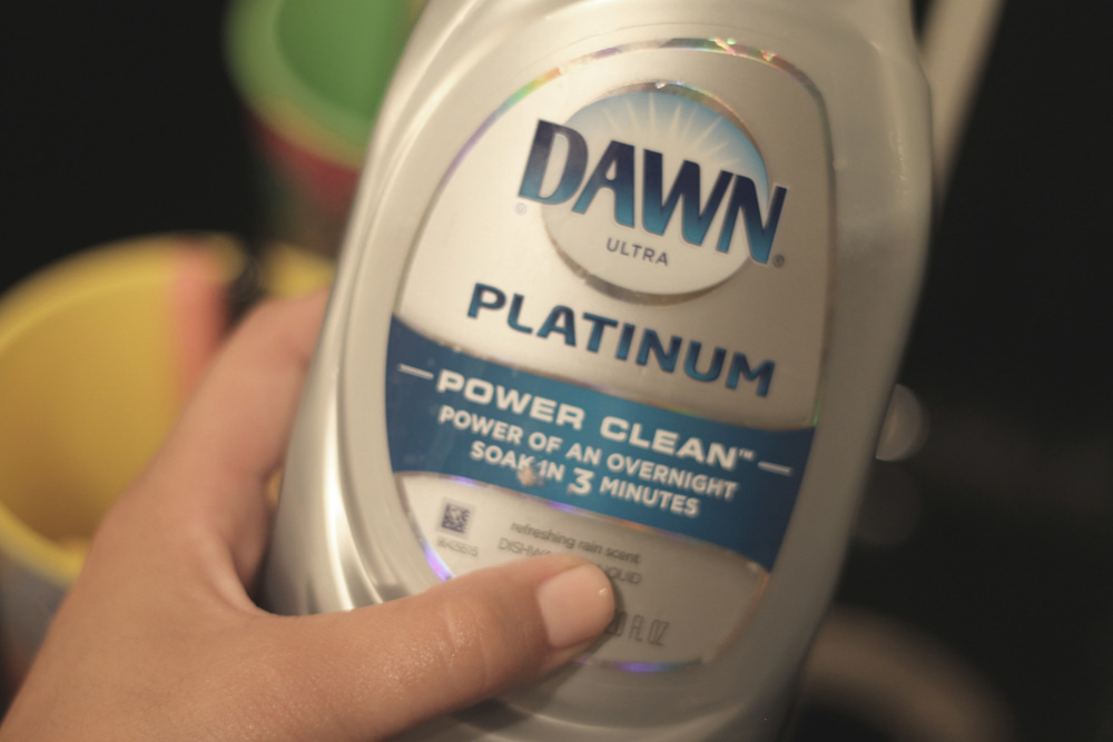 Step 2:  Pick your potion. This Dawn soap is my favorite because it breaks down the product and oils in the brush and cleans then quick. It is gentle, but yet strong enough to clean the gunk out. Other soaps that are great for brushes are Baby Soap and Shampoo.