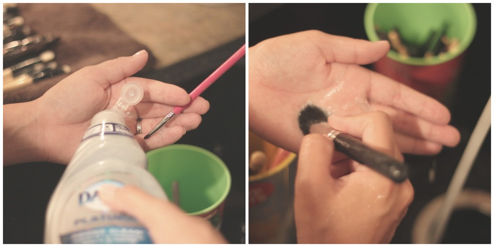 Step 3:   Pour a small amount of soap into your hand. Grab one brush and wet it a little more, and press into your hand in circular motions. Rinse brush off underwater and repeat until completely clean.