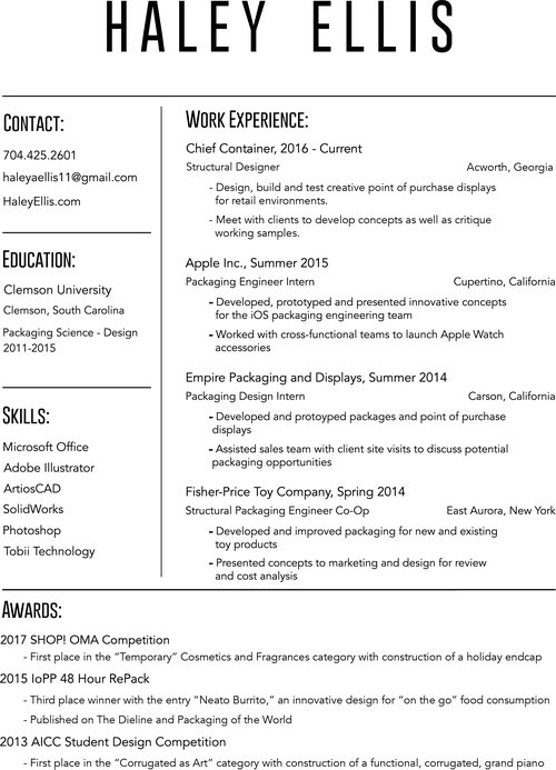 resume haley ellis