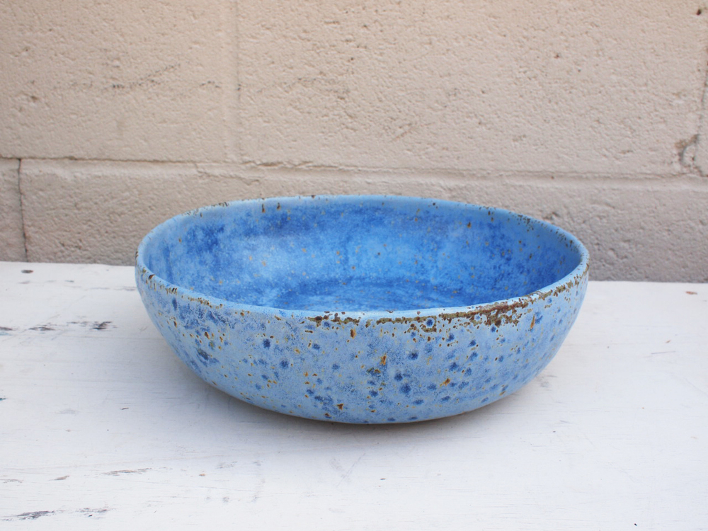 "#010  Blue meteor bowl  2.75"" h x 9.75"" d $100 SOLD OUT"