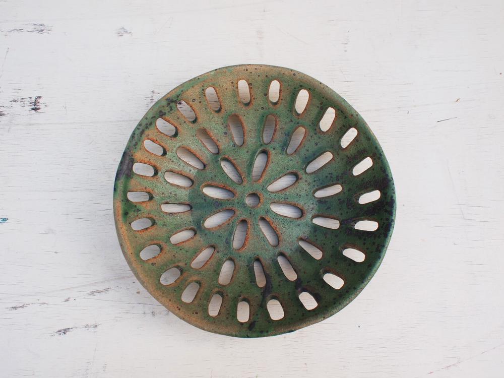 """#017 Green drain colander 1.75"""" h x 8"""" d $150"""
