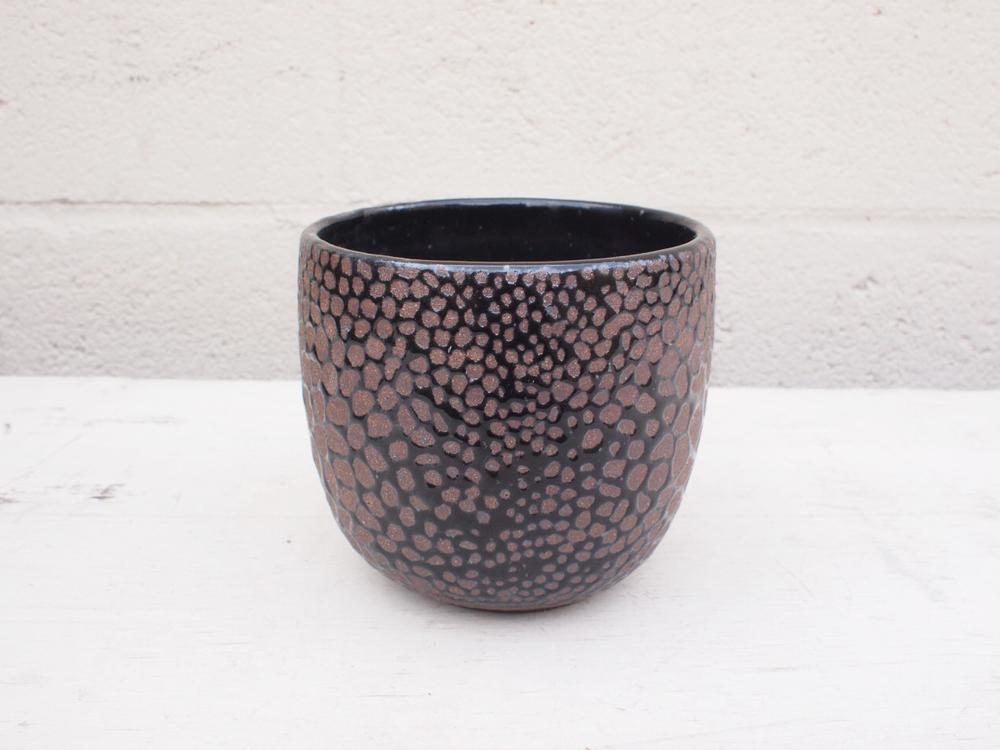"#053 Black python pot 4"" h x 4.5"" d $75"