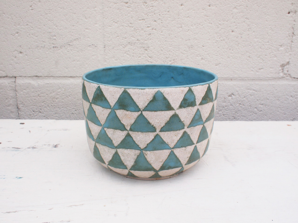 "#056  Turquoise triangle planter w/ drainage hole    5"" h x 6.75"" d    $120"