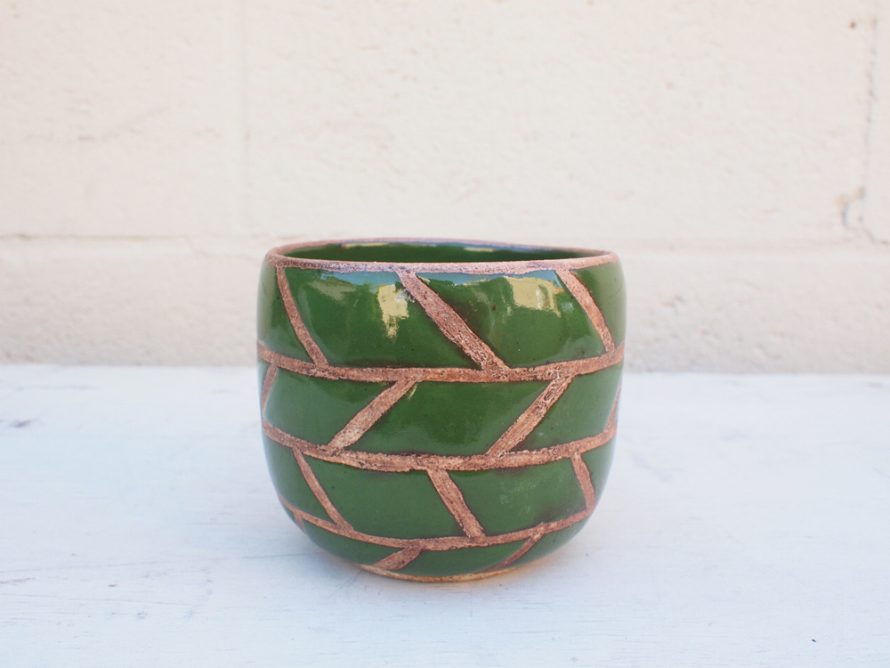 "#064  Green masonry pot 3.5"" h x 4"" d $40"