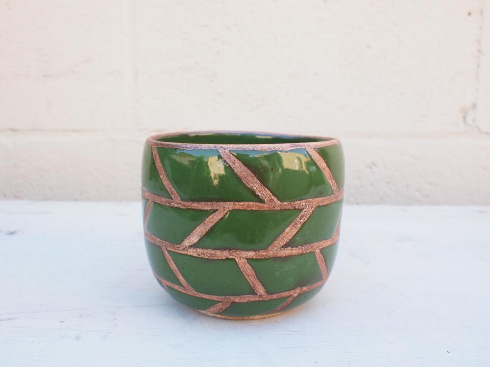 "#064 Green masonry pot 3.5"" h x 4"" d $40"