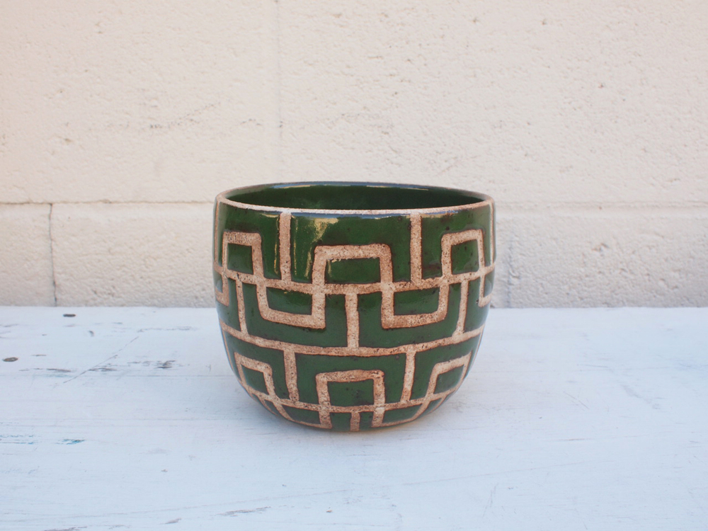 "#067  Green masonry pot 4.25"" h x 5.25"" d $80"