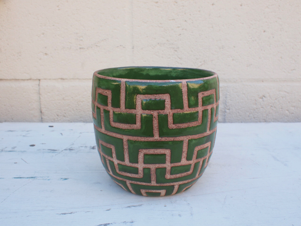 "#068 Green masonry pot 5"" h x 5.25"" d $85"